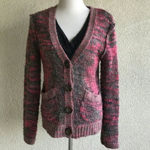 Free People Pink Chunky Knit Marled Cardigan